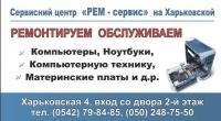 Лицевая часть визитки сервисного центра РЕМ-сервис