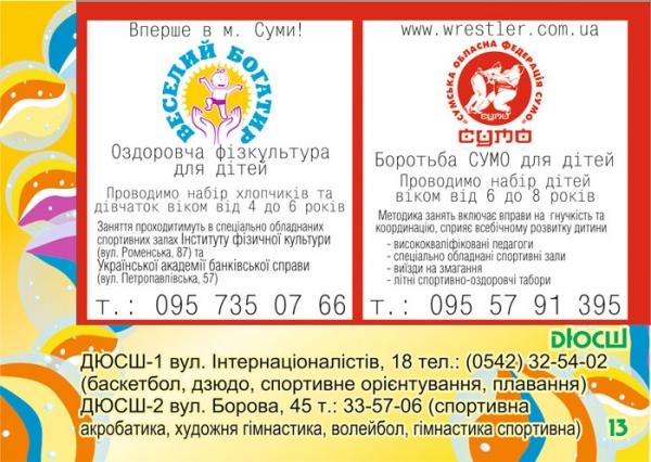 стр. 13 / Оздоровительная физкультура и СУМО для детей / ДЮСШ